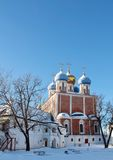 Golden domes of  ancient Kremlin Stock Images