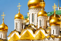 Golden domes of Annunciation Cathedral, Moscow Royalty Free Stock Photography