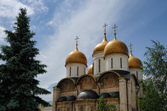 Golden Domes of Assumption Cathedral in Moscow Kremlin. View from East side on the magnificent Cathedral of the Assumption (Dormition cathedral, Uspensky Sobor) stock images
