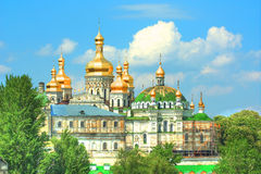 Golden domes of a beautiful orthodox monastery Stock Photo