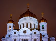 The Golden Domes of Cathedral of Christ the Savior. City the Moscow ,the Golden Domes of Cathedral of Christ the Savior.Russia.2019 stock image