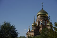 Golden domes. Of the Cathedral of Our Lady of Kazan. summer sunny day royalty free stock image