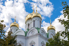 Golden domes of Catherine cathedral against blue sky Royalty Free Stock Photos