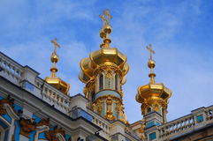 The golden domes. Of Catherine the Great`s palace church stock photo