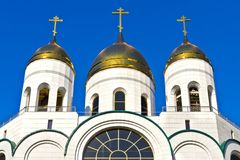Golden domes of Christ the Savior. Kaliningrad, Russia Stock Image