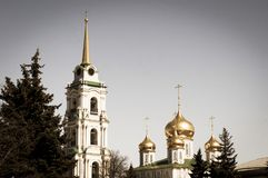 Golden domes of the Christian Cathedral and gilded spire of the bell tower. Tula is the weapon capital of Russia. Spring mood. It`s spring royalty free stock photos