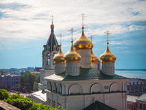 Golden domes. Of the church against the sky stock photography