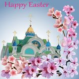 Domes of the Church against the sky and branches of flowering trees and the words of happy Easter stock illustration