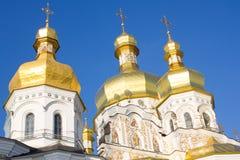 Golden domes of the church in Kiev-Pechersk Lavra, ancient Christian monastery in Kiev, Ukraine Stock Photo