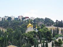 Golden domes of the Church of Mary Magdalene. Mount of Olives, J Stock Photo