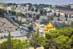 Golden domes church of Mary Magdalene Royalty Free Stock Images