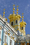 Golden domes of Church of resurrection of Christ.Catherine Palace. Royalty Free Stock Image
