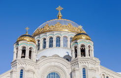 Golden domes with cross of Kronstadt Naval cathedral Stock Photography