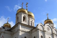 Golden domes with crosses. The Cathedral of Christ the Savior Savior Cathedral in Pyatigorsk, Russia. The Bell tower and golden domes with crosses. The Cathedral royalty free stock photos