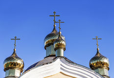 Golden domes and crosses Christian Orthodox Cathedral. Odessa, U Royalty Free Stock Photos
