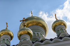 Golden domes with crosses Royalty Free Stock Image