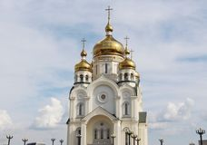 Golden domes with crosses Royalty Free Stock Photo