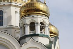 Golden domes with crosses. / Domes of an Orthodox church on a sky background stock images