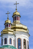 Golden domes and crosses of the Orthodox Church. Stock Photos