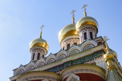 Golden domes and crosses. Golden domes of Rozhdestvo Hristovo memorial russian church in Shipka, Bulgaria royalty free stock images