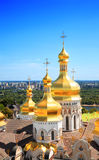 Golden domes of Dormition Cathedral. Golden domes of Dormition Cathedral, Kiev Pechersk Lavra, Kiev, Ukraine Royalty Free Stock Images
