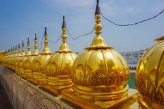 Golden domes at the Golden Temple in Amritsar, India. Punjab state stock photo