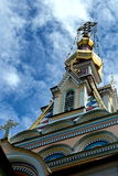 Golden domes. Golden domes have on the Ascension Cathedral in Almaty royalty free stock photos