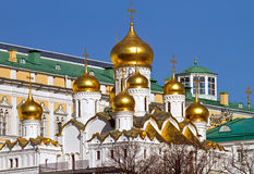 Golden domes of Moscow Kremlin Royalty Free Stock Image