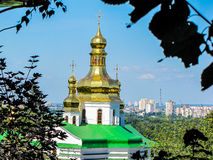Golden domes of the Mother of God Assumption church in Kiev, Ukraine Stock Image