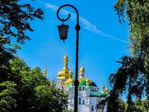 Golden domes of the Mother of God Assumption church in Kiev, Ukraine Royalty Free Stock Photography