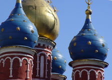 Golden Domes in Old Moscow. Domes of a 15th century church in downtown Moscow stock photos