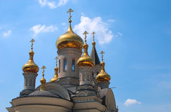 Golden domes of Orthodox Cathedral Stock Photo
