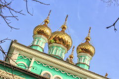 Golden domes. Golden domes of the Orthodox church in Almaty royalty free stock image