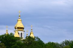 Golden domes of an orthodox church among blossoming trees agains. T a background of a cloudy blue sky royalty free stock photos
