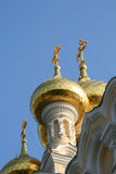 Golden domes. Of an orthodox church in yalta, crimea royalty free stock images