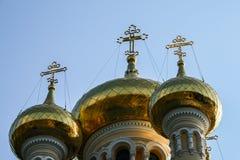 Golden domes. Of an orthodox church in yalta, crimea stock photos