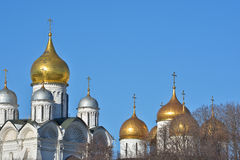 Golden domes of Orthodox churches of the Moscow Kremlin. Stock Photo