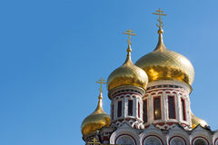 Golden domes. Of Rozhdestvo Hristovo memorial russian church in Shipka, Bulgaria Stock Image