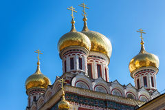Golden domes. Of Rozhdestvo Hristovo memorial russian church in Shipka, Bulgaria royalty free stock photo