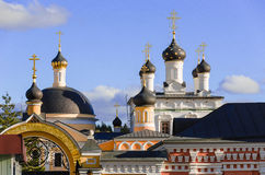 Golden domes of Russia. Dome. Active monastery Ascension David desert, the Moscow region, Chekhov district, pos. New life. Founded in 1515 by St. David Stock Photos