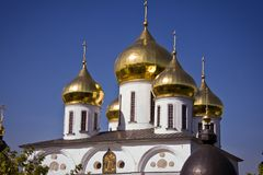 Golden Domes of Russian Church. In Dmitrov Royalty Free Stock Photos