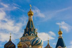 Golden domes of the Russian Orthodox Church.  stock image