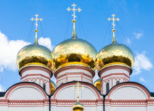Golden domes of Russian orthodox church in Valday monastery Stock Photography