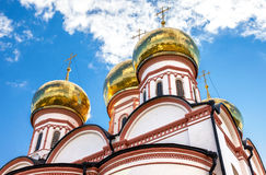 Golden domes of Russian orthodox church in Valday monastery Royalty Free Stock Photography