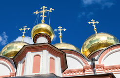 Golden domes of Russian orthodox church in Valday monastery Royalty Free Stock Photos