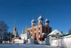 Golden domes of  Ryazan Kremlin Stock Photos
