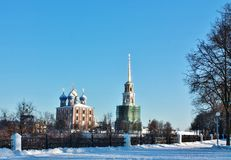Golden domes of  Ryazan Kremlin Stock Photography