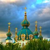 Golden Domes of Saint Andrew's Church in Kiev Royalty Free Stock Image