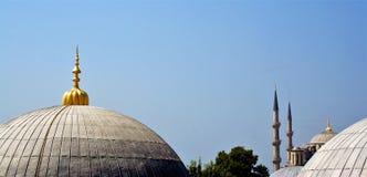 Golden domes of santa sophia mosque Stock Photo