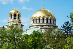 Golden Domes of St. Alexander Nevsky Cathedral in Sofia Royalty Free Stock Photo